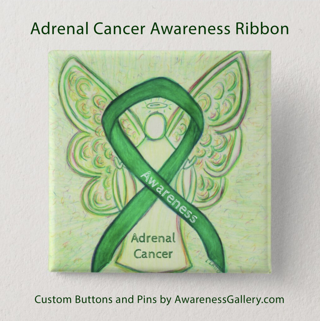 Adrenal Cancer Awareness Ribbon Buttons and Pins