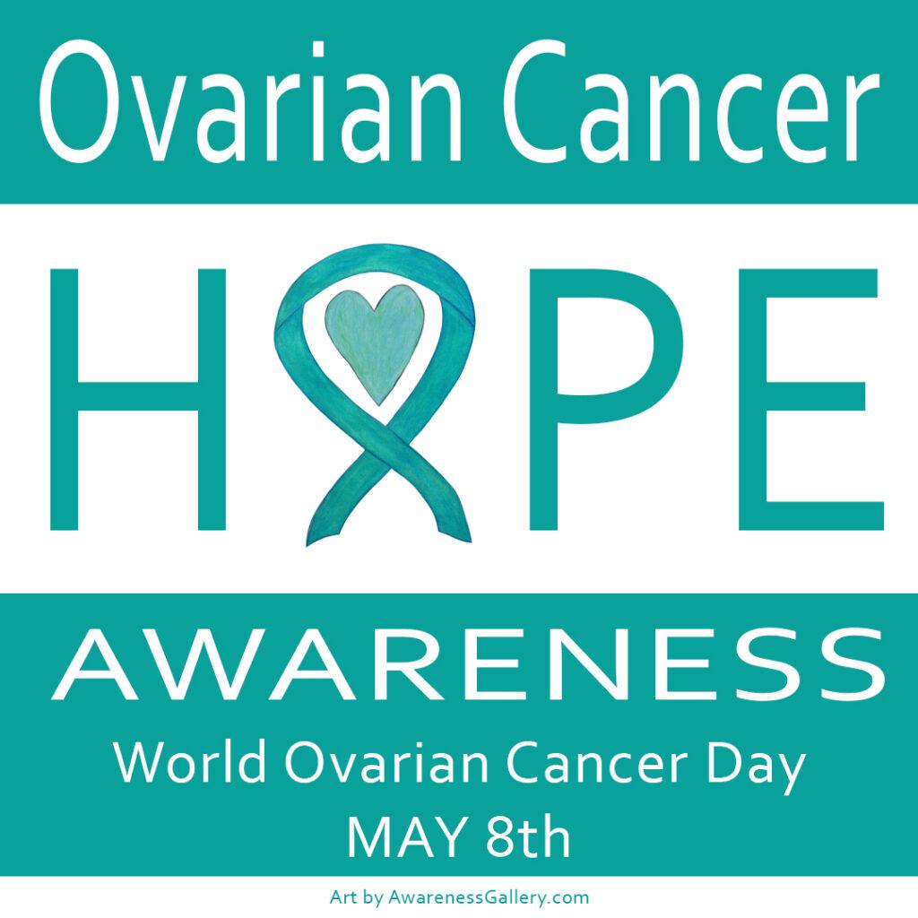 Ovarian Cancer Awareness Teal Ribbon Heart Hope Art