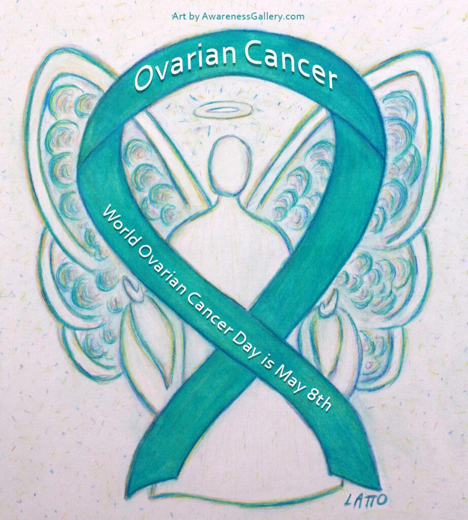 Ovarian Cancer Awareness Teal Ribbon Angel