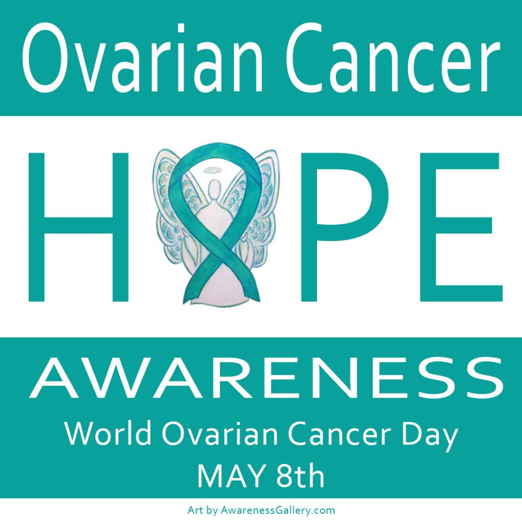 Ovarian Cancer Awareness Angel Teal Ribbon Art Hope Word