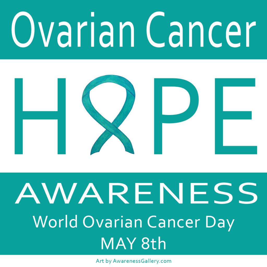 Ovarian Cancer Awareness Teal Ribbon Art