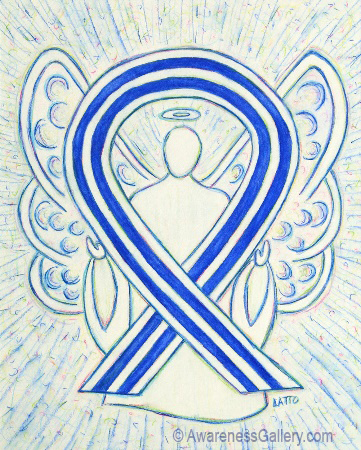 ALS Blue and White Striped Awareness Ribbon Angel Art Painting