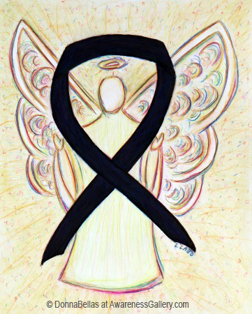 Black Awareness Ribbon Angel Painting Art