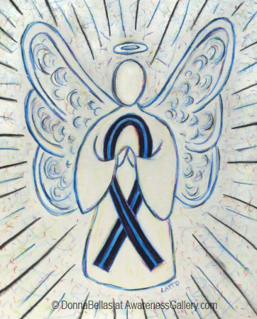 Blue and Black Awareness Ribbon Angel Art