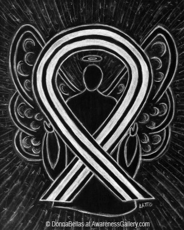 Black and White Awareness Ribbon Angel Art Painting to Support Ending Racism