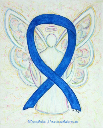 Blue Awareness Ribbon Angel Painting Art