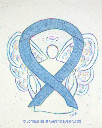 Rare Diseases Light Denim Awareness Ribbon Angel Painting Art