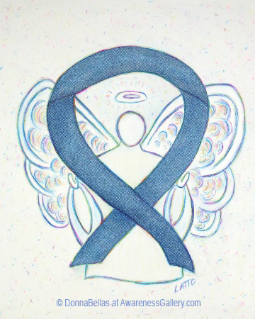 Rare Disease Denim Awareness Ribbon Angel Painting Art