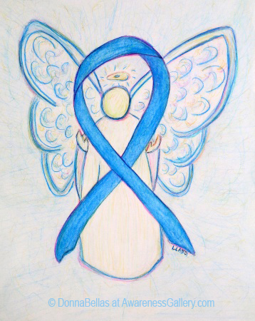 Light Blue Awareness Ribbon Angel Painting Art