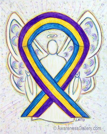 Blue, Purple, & Marigold Bladder Cancer Awareness Ribbon Angel Art Painting