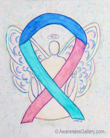 Blue, Pink, and Teal Thyroid Cancer Awareness Ribbon Angel Art Painting