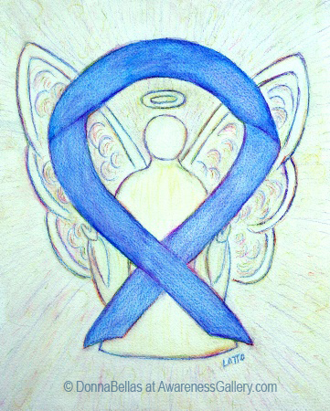 Blue River Awareness Ribbon Angel Painting Art
