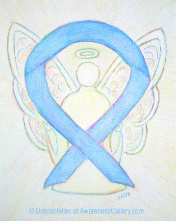 Light Blue Sky Awareness Ribbon Angel Painting Art