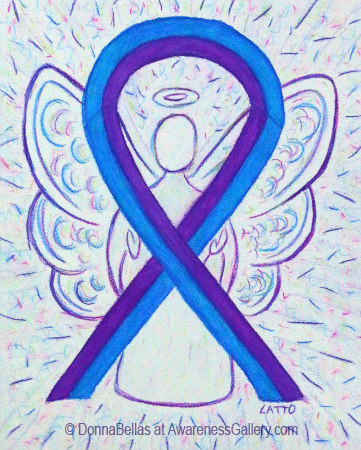 Blue and Purple Awareness Ribbon Angel Art
