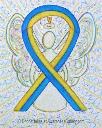 Blue and Yellow Awareness Ribbon Angel Art
