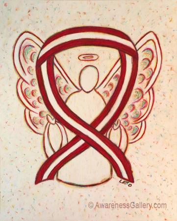 Burgundy and Ivory Head and Neck Cancers Awareness Ribbon Angel Art Painting