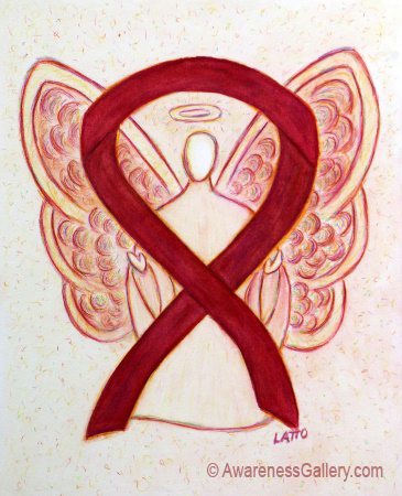 Burgundy Awareness Ribbon Angel Painting Art