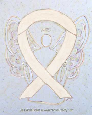 Ivory or Cream Awareness Ribbon Angel Art Painting
