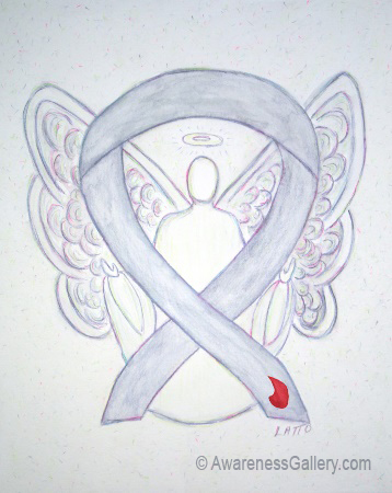 Gray with Red Blood Drop Diabetes Awareness Ribbon Angel Art Painting