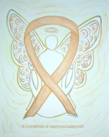 Childhood Cancer Light Gold Awareness Ribbon Angel Painting Art