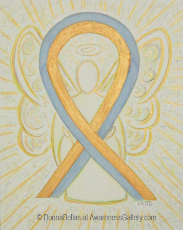Gold and Gray Pediatric Brain Cancer Awareness Ribbon Angel Art