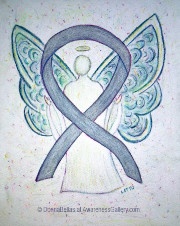Gray Awareness Ribbon Angel Painting Art