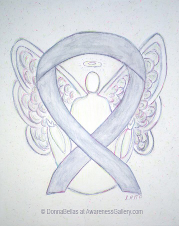 Light Gray Awareness Ribbon Angel Painting Art