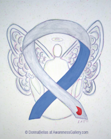 IDDM Diabetes Gray and Blue with Blood Drop Awareness Ribbon Angel Art Painting