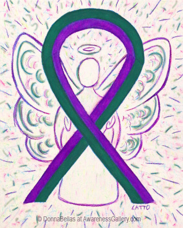 Purple and Green Awareness Ribbon Angel Art Painting