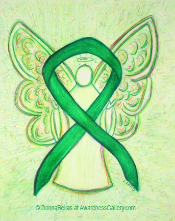Green Awareness Ribbon Angel Painting Art