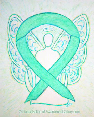 Liver Cancer and HPV Jade Green Awareness Ribbon Angel Painting Art