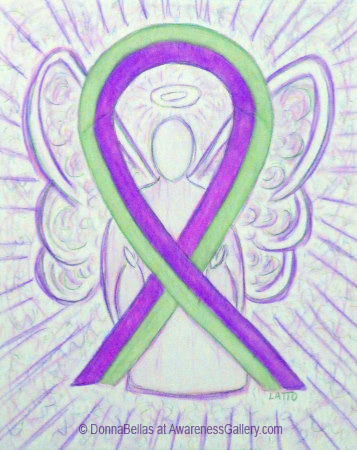 Lime and Purple Awareness Ribbon Angel Art Painting for Lime Disease and Pain Awareness