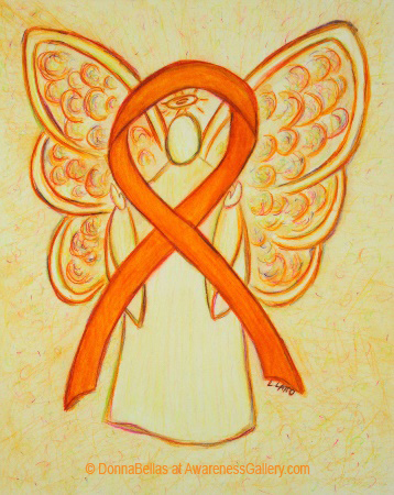 Orange Awareness Ribbon Angel Painting Art