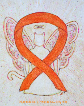 Orange Animal Cruelty Cat Awareness Ribbon Angel Painting Art