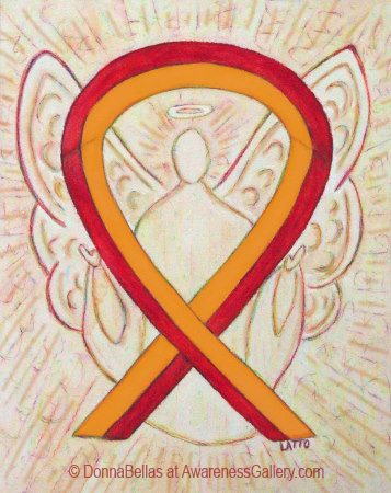 Orange and Red Awareness Ribbon Angel Art Painting