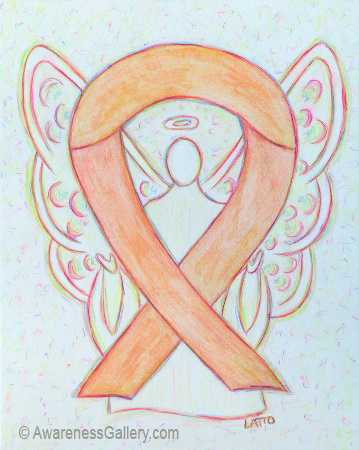 Peach Uterine and Endometrial Cancer Awareness Ribbon Angel Art Painting