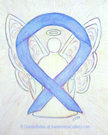 Periwinkle Awareness Ribbon Angel Painting Art
