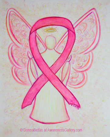 Pink Awareness Ribbon Breast Cancer Angel Painting Art