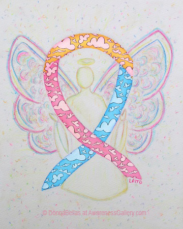 Congenital Diaphragmatic Hernia (CDH) Yellow, Pink, and Blue Clouds Awareness Ribbon Angel Painting Art
