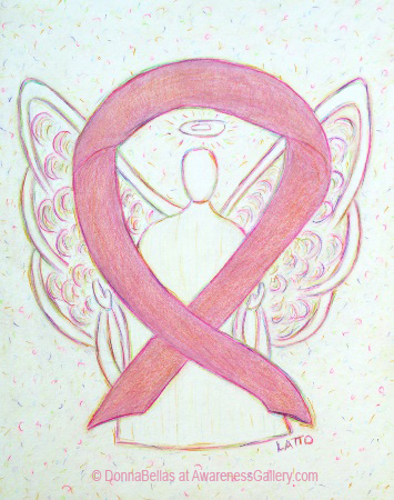 Breast Cancer Pink Awareness Ribbon Angel Painting Art