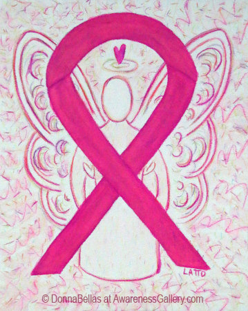 Hot Pink Awareness Ribbon Angel Art