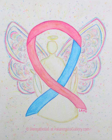Pink and Blue Awareness Ribbon Angel Painting Art