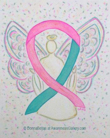 Pink and Teal Awareness Ribbon Angel Art Painting for Hereditary Breast and Ovarian Cancer Support