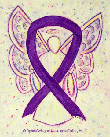 Purple Awareness Ribbon Angel Painting Art