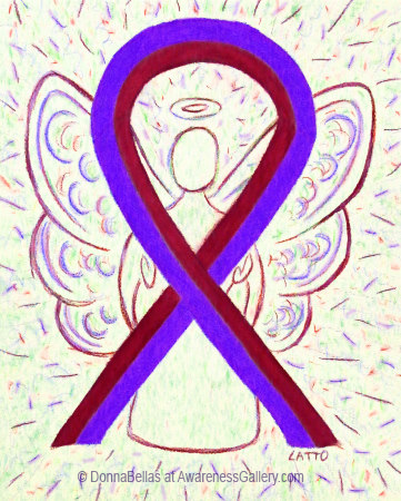 Purple and Burgundy Awareness Ribbon Angel Art Painting for Chronic Migraines