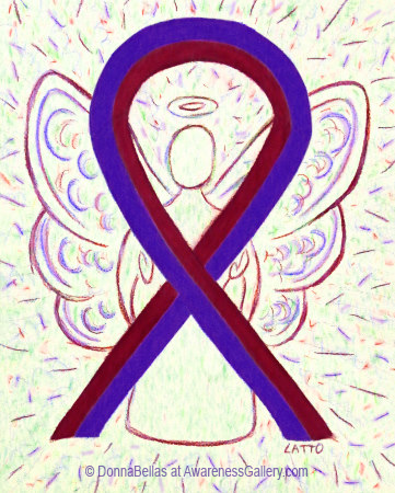 Purple and Burgundy Awarness Ribbon Angel for Chronic Migraines Awareness