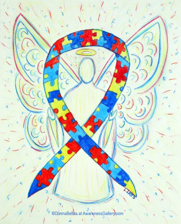 Autism Spectrum Disorder (ASD) Puzzle Piece Awareness Ribbon Angel Painting Art