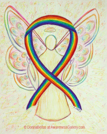 Lesbian, Gay, Bisexual, and Transgender (LGBT) Pride Rainbow Awareness Ribbon Angel Painting Art