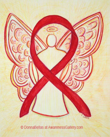 Red Awareness Ribbon Angel Painting Art