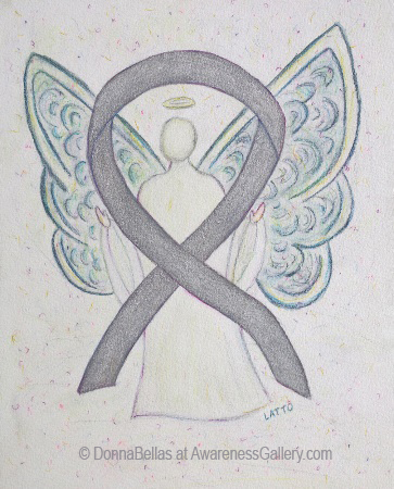 Silver Sparkle Awareness Ribbon Angel Painting Art